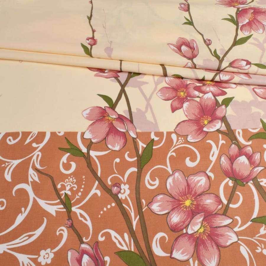 Бязь кремовая с коричневым купоном и бабочками, ш.220