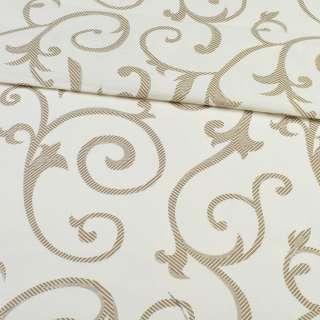 Бязь набивна молочна з коричневими завитками, ш.220