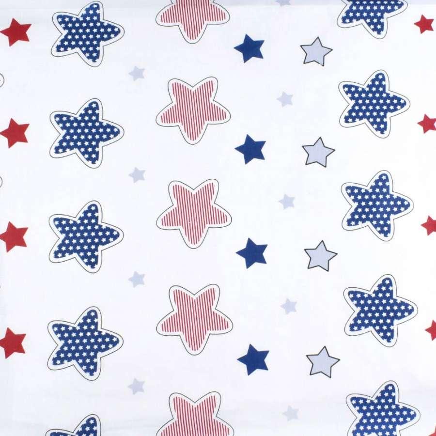 Бязь набив. белая с красными и синими звездами, ш.220