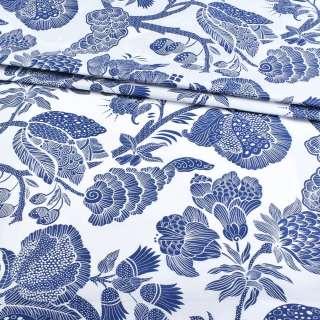 Бязь набивна біла з великими синіми квітами, ш.220