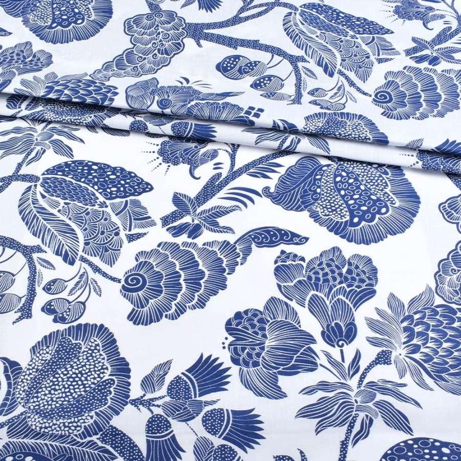 Бязь набив. белая с крупными синими цветами, ш.220