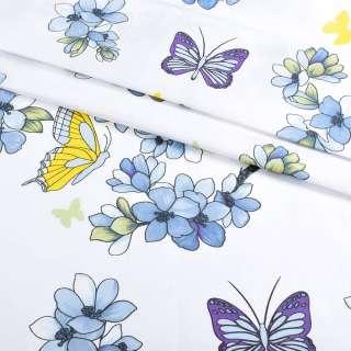 Бязь набивна біла з блакитними квітами і метеликами, ш.220
