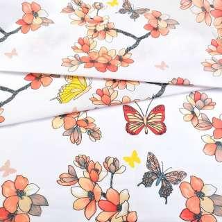 Бязь набивна біла з персиковими квітами і метеликами, ш.220