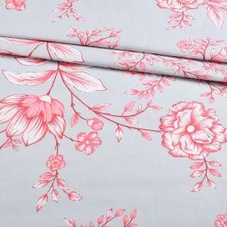 Бязь набивши. сіра з біло-рожевими квітами, ш.220