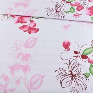 Бязь набивши. біла з рожево-вишневими квітами, ш.220