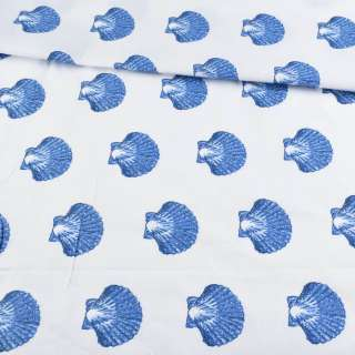 Бязь набивши. біла з синіми черепашками, ш.220