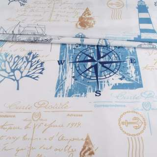 Бязь набивная белая, синий парусник, голубой коралл, ш.220