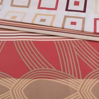 Бязь набивна бежева, теракотові смужки, квадрати (купон), ш.220