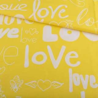 Бязь набивная желтая LOVE ш.220