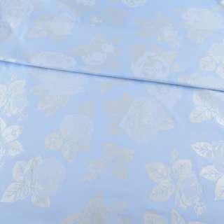 Тик наперниковый голубой в серебристые цветы, ш.220