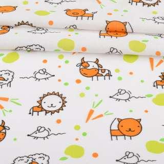 Ситець набивний білий, помаранчеві корівки, морквини, ш.95