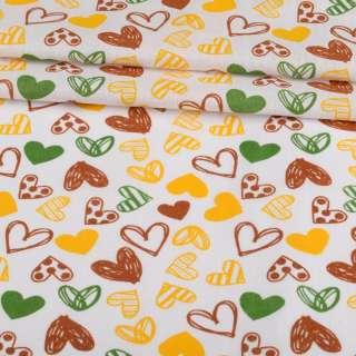 Ситець набивний білий, коричневі, жовті сердечка, ш.95