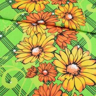 Ткань полотенечная вафельная набивная салатовая с желто-оранжевыми цветами, ш.40
