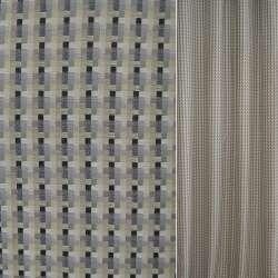 Рогожка бежево-серая в черные полоски ш.140
