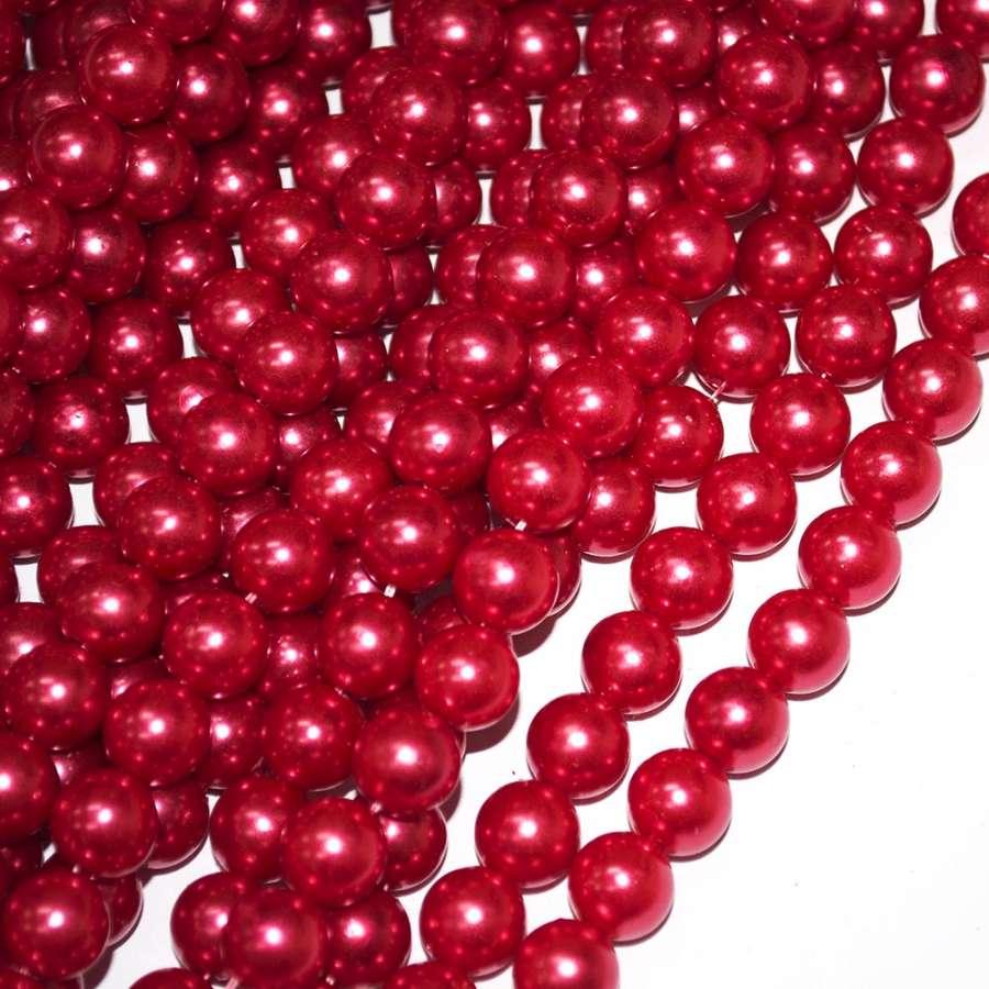 Бусины на нитке акрил под жемчуг 10мм красные темные