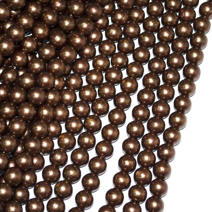 Бусины на нитке акрил под жемчуг 10мм коричневые