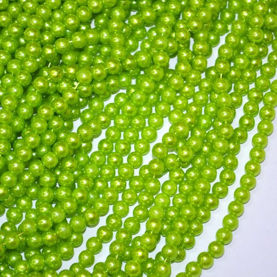 Бусины на нитке акрил под жемчуг 6мм зеленые