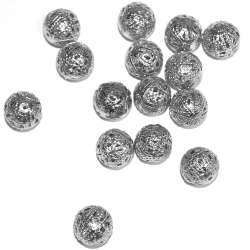 Бусина металлическая 14мм ажурная серебро темное