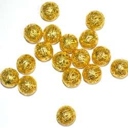 Металлическая ажурная бусина золото светлое 14мм