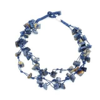 Бусы из камня Индия прямоугольные длина низки 52см синие
