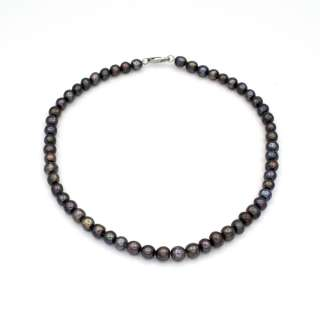Намисто з натуральних річкових перлів круглі довжина 43см чорні