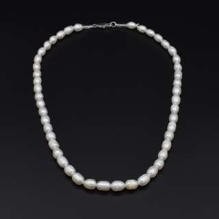 Намисто з натуральних річкових перлів овальні довжина 45см білі