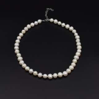 Намисто з натуральних річкових перлів круглі довжина 45см білі