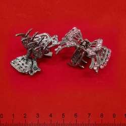 Зажим для волос металическая бабочка со стразами розовыми серебристая