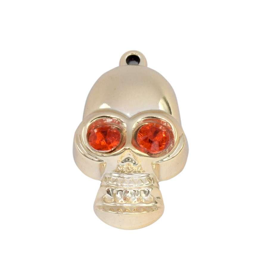 Подвеска металл со стразами череп 45мм золотистая с красным