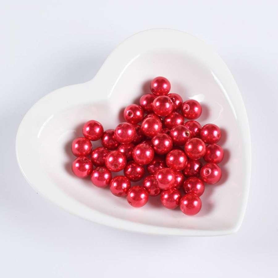 Бусина під перли червона 12мм (ціна за 1 г)