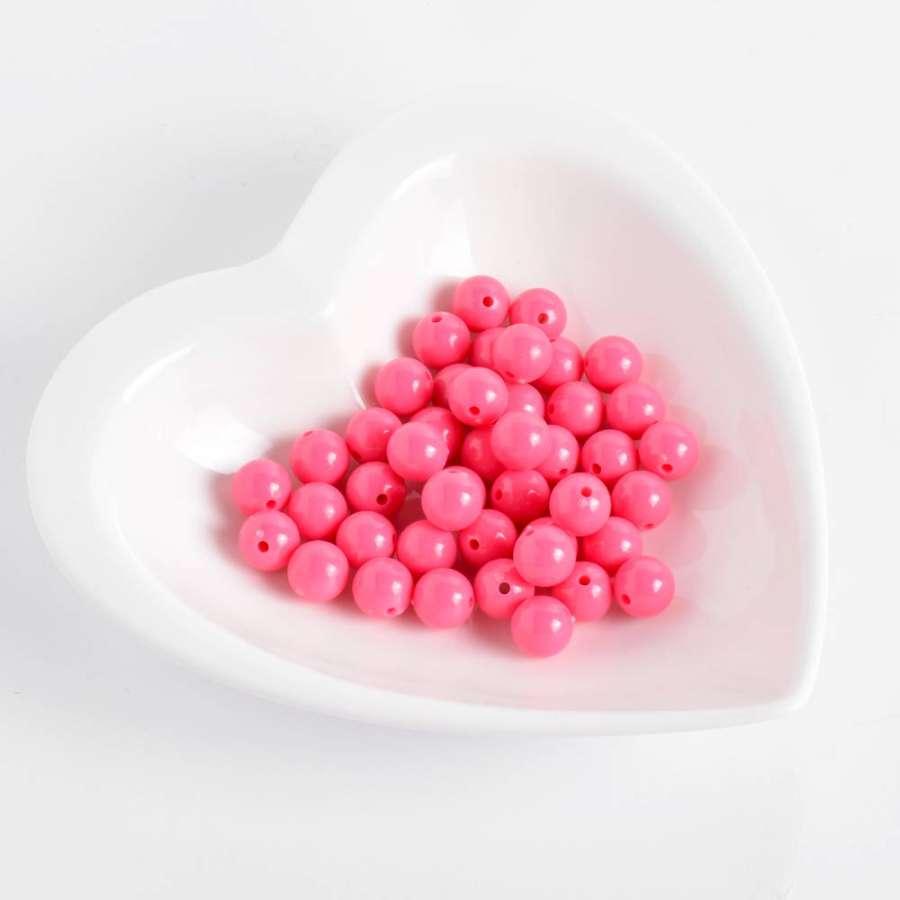 Бусина пластик 10мм розовая неон (цена за 1г)
