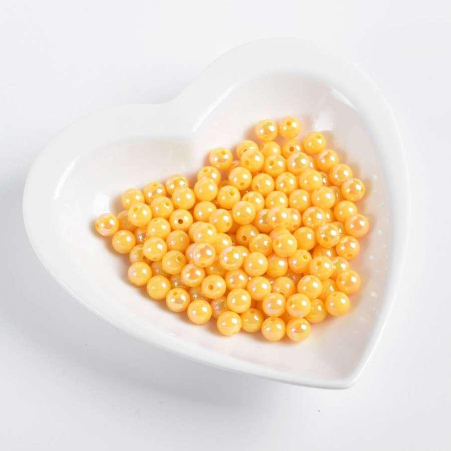 Бусина радужная желтая 8мм (цена за1г)