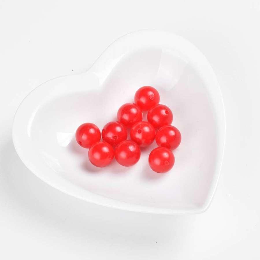 Бусина пластик шар 15мм красная (цена за1г)