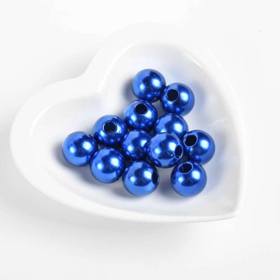 Бусина под жемчуг синяя 20мм (цена за1г)