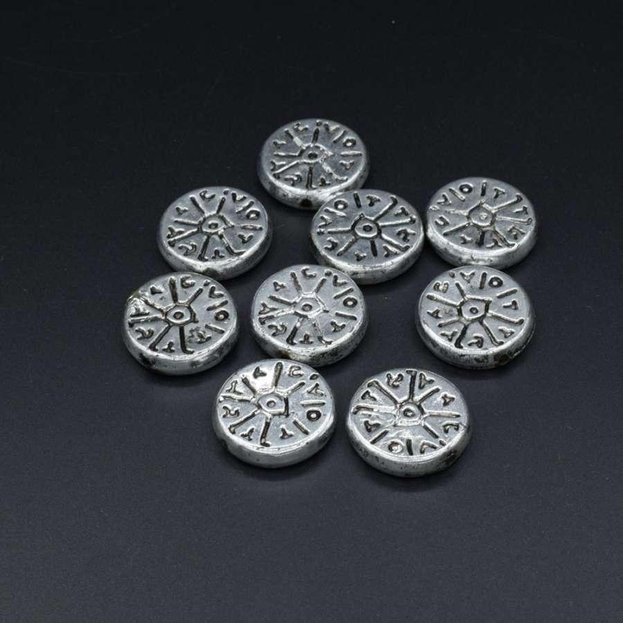 Бусина пластик под металл круглая плоская фактурная 5х23мм серебристая (цена за 1г)