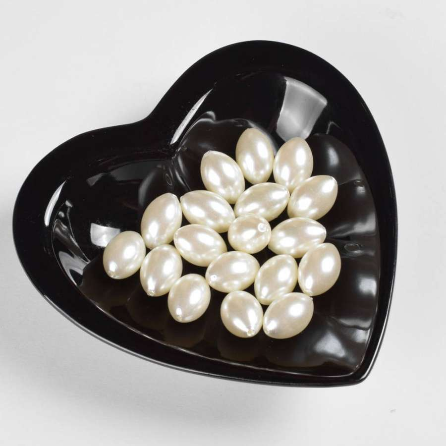 Бусина під перли біла 13х20мм (ціна за 1 г)