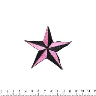 аппликация Звезда черно-розовая, вышивка, 7х8см