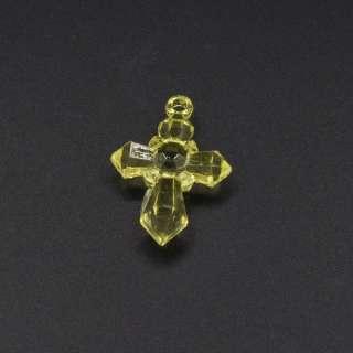 Подвеска пластик крестик 30х20мм прозрачный желтый