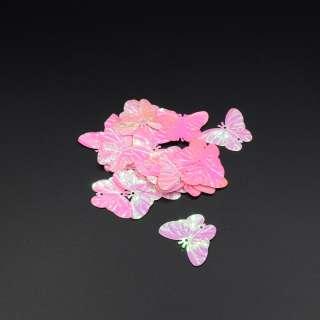Паєтками метелик 30х25мм 1 упаковка 2,5 г = 10шт рожеві хамелеон