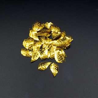 Паєтками листочок 25х14мм 1 упаковка 4г = 50шт золотисті