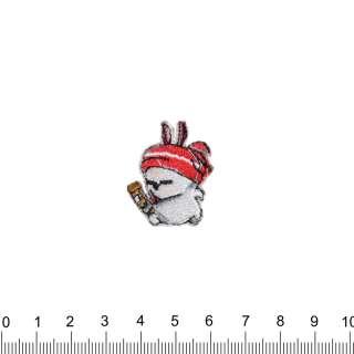 аплікація Заєць в шапці, вишивка, 2х3см