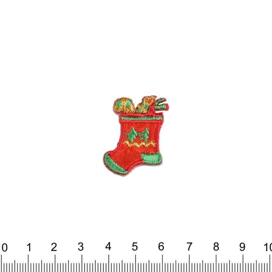Термоаппликация Носок с подарками 30х30мм красный