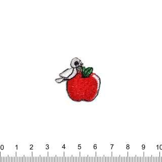 аппликация Яблоко с птичкой, вышивка, 3х3см