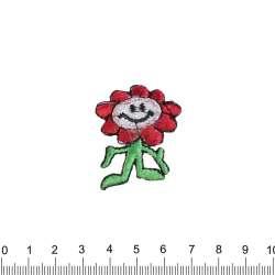 аппликация Цветок смайлик, вышивка, 3х4см
