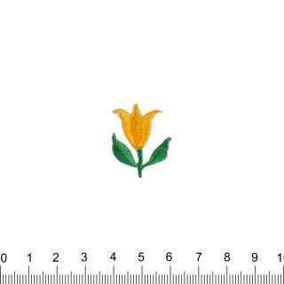 аппликация Тюльпан желтый, вышивка, 2,5х2,5см