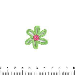 аплікація Квітка рожево-зелений, вишивка, 3,5х3см