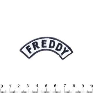 Аппликация FREDDY бело-синяя, вышивка, 7х3см