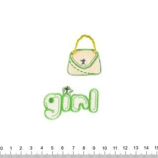 аппликация GIRL+сумочка, вышивка, 5,5х8см