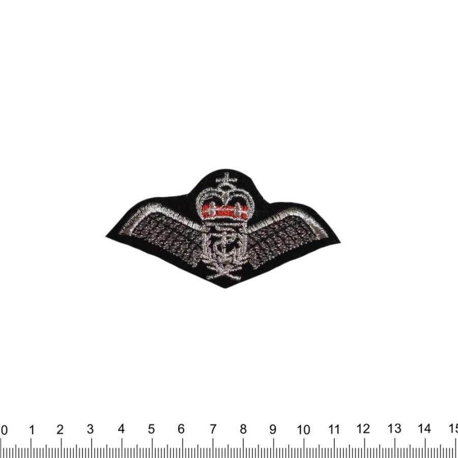 Нашивка Крылья с короной 40х80мм черная