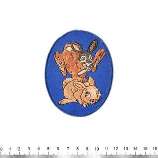 Аппликация 2 зайчика на синем фоне, вышивка, 7х9см